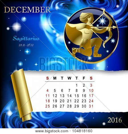 Simple monthly page of 2016 Calendar with gold zodiacal sign against the blue star space background. Design of December month page with Sagittarius figure.