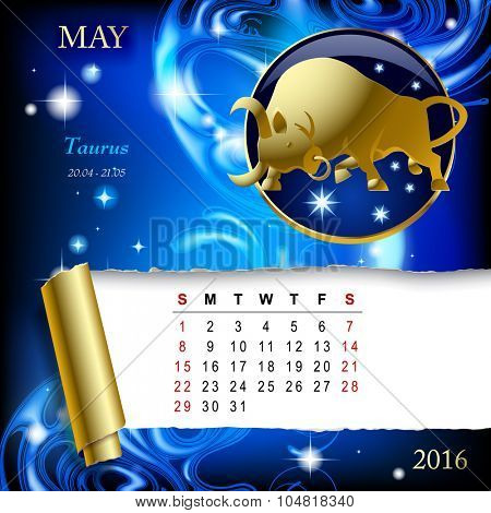 Simple monthly page of 2016 Calendar with gold zodiacal sign against the blue star space background. Design of May month page with Taurus figure.
