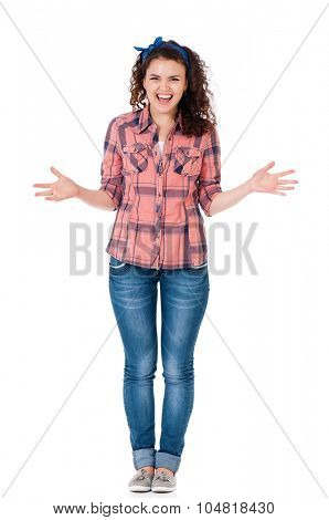 Screaming teen girl screaming isolated on a white background