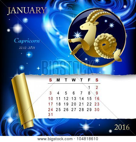 Simple monthly page of 2016 Calendar with gold zodiacal sign against the blue star space background. Design of January month page with Capricorn figure.
