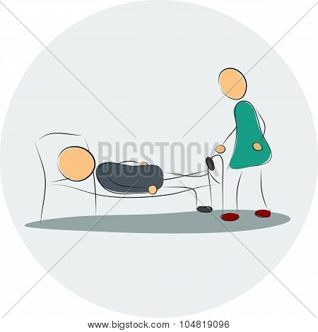 Woman Near Depressed Man In The Bed