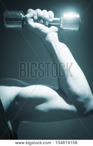 Man Exercising With Dumbbell Gym Weight Health Club