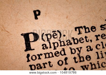 Close-up Of A P, The 16Th Letter Of The Latin Alphabet