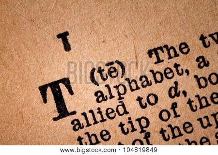 Close-up Of A T, The 20Th Letter Of The Latin Alphabet