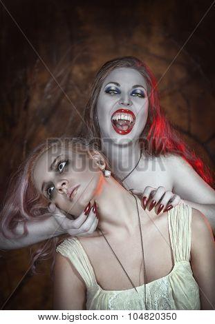 Beautiful Vampire Woman And Her Victim