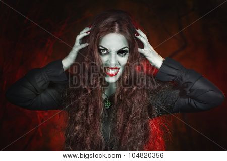 Screaming Halloween Beautiful Vampire With Long Hair