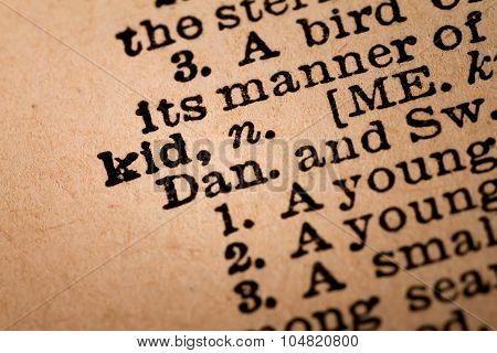 Close-up Of An Opened Dictionary Showing The Word Kid