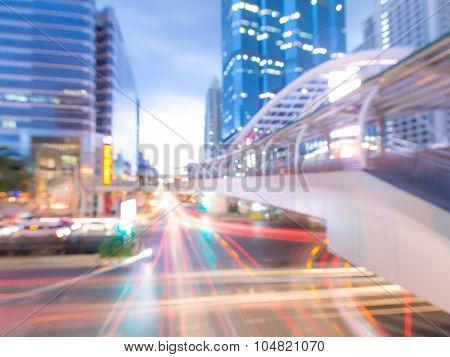 blurred Chong Nonsi skywalk Thailand - Bangkok