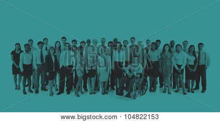 Large Group Business People Teamwork Collaboration Concept
