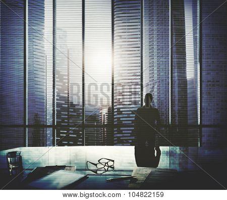 Businessman Thinking Aspirations Goals Contemplating Concept