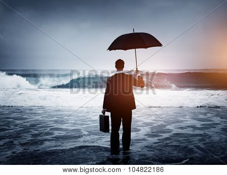 Lonely Businessman Alone Anxiety Beach Concept