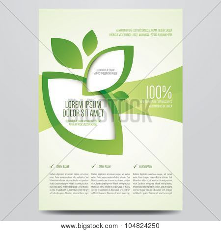 Vector eco flyer, poster, brochure, magazine cover template. Modern green leaf, environment design.