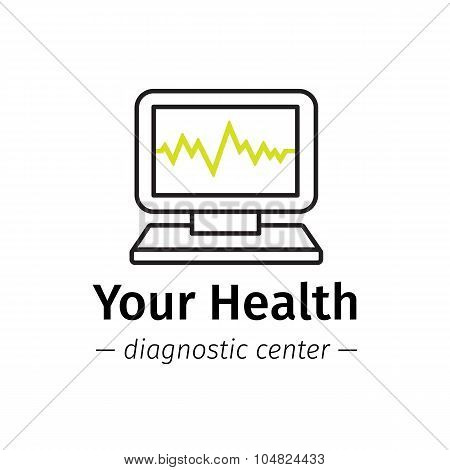 Vector trendy line style medical center logo. Diagnostic logotype. Computer with cardiogram on scree