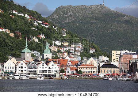 Bergen, Norway - Circa July 2012: At the UNESCO World Heritage Site Bryggen