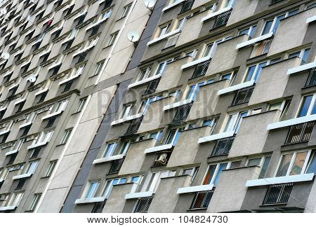 Block Of Flats From 50's In Center Of Warsaw
