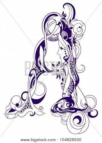 Vintage decorative initials letter A