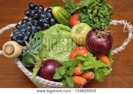 White Basket With Fresh Healthy Vegetables And Fruit