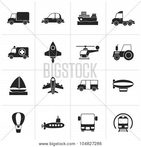 Black Different kind of transportation icons