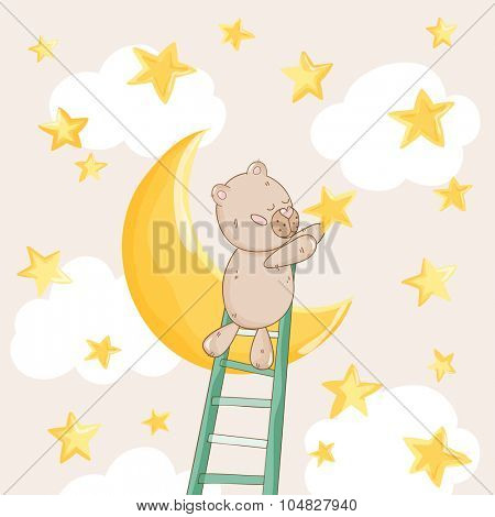 Baby Shower or Arrival Card - with Baby Bear with Stars - in vector