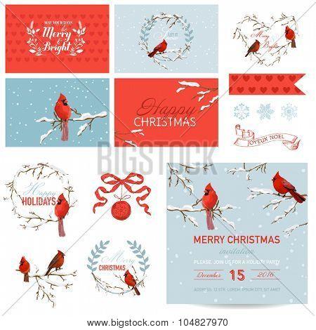 Scrapbook Design Elements - Vintage Christmas Birds Theme - in vector
