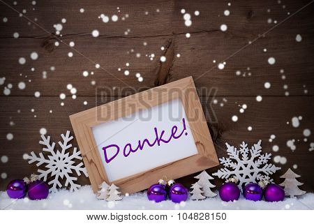 Purple Christmas Decoration, Snow, Danke Mean Thanks, Snwoflake