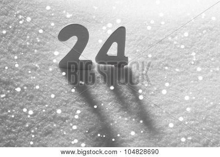 White Number 24 On Snow, Snowflakes