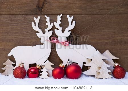 Christmas Decoration, Reindeer Couple In Love