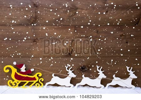 Santa Claus Sled with Reindeer and Snow Background