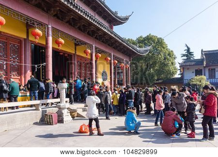 Jiangyin, China In 2015 February 19: People Burn Incense At The First Day Of The Chinese New Year