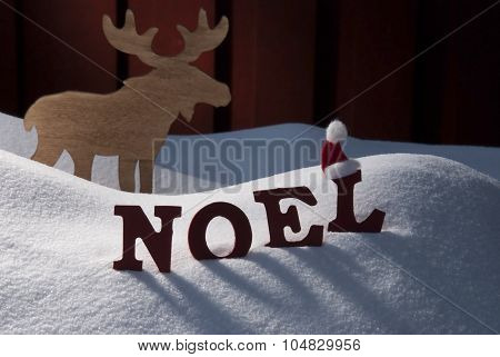 Card With Moose And Snow, Noel Mean Christmas