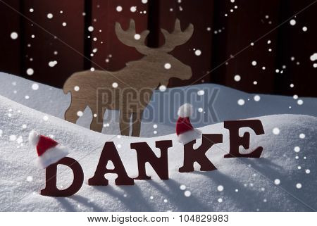 Christmas Card With Moose, And Snow, Danke Mean Thanks,Snowflake