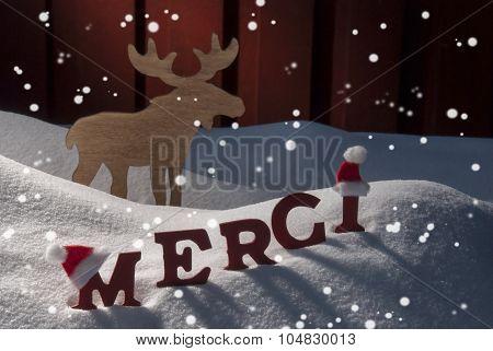 Christmas Card Moose, Snow, Merci Mean Thanks, Snowflakes, Hat