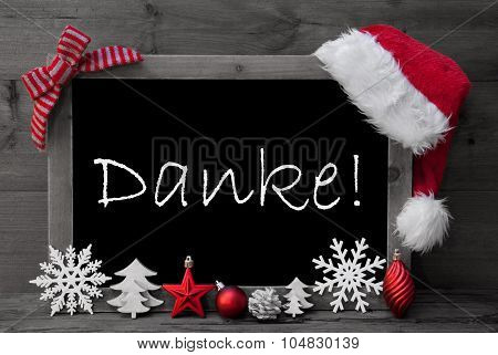 Blackboard Santa Hat Christmas Decoration Danke Means Thank You