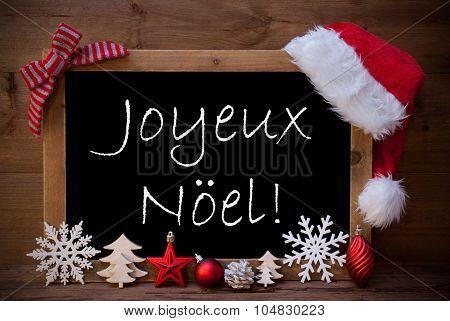 Brown Blackboard Santa Hat Joyeux Noel Means Merry Christmas