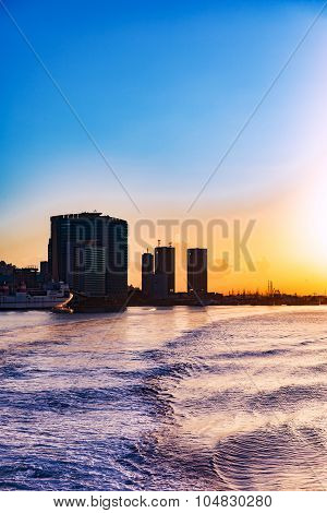 View of Port of Spain Trinidad and Tobago waterfront from the sea