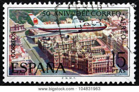 Postage Stamp Spain 1971 Boeing 747 Over Plaza De La Cibeles