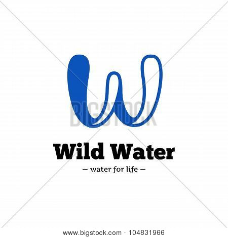 Vector modern creative W letter logo. Abstract blue wave logotype.