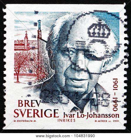 Postage Stamp Sweden 2001 Ivar Lo-johansson, Writer