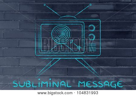 Subliminal Message, Concept Of Tv Ads (screen With Arrow And Target)