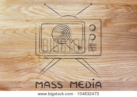 Concept Of Tv Ads And Mass Media Communication (screeen With Target And Arrow)