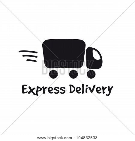Vector black truck logotype. Express delivery logo.