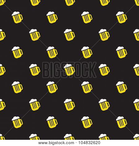 Simple bright beer mug seamless pattern