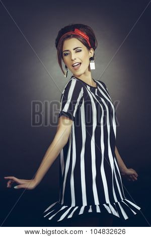 Winking Flirtatious Retro Lady