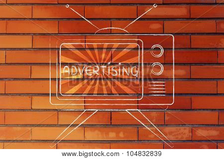 Advertising, Tv Screen With Emphatic Message