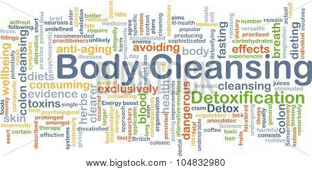Background concept wordcloud illustration of body cleansing