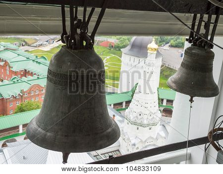 The bells in the belfry of The Trinity Lavra of St. Sergius in Sergiyev Posad