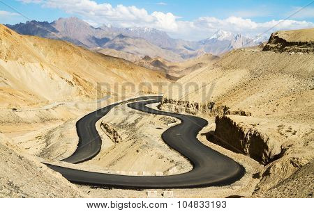 The new winding road in the Himalayas mountains between Leh and Kargil at the sunny summer day