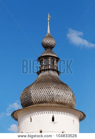 Dome of the Holy Gates Covered with wooden plates in the Kremlin of the Rostov Veliky