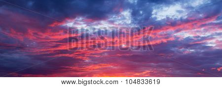 Mystery Play Of Colors And Shades Of Violet, Scarlet Cloudy Sky At Sunset
