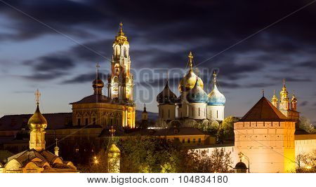 Panorama Of The Trinity Lavra Of St. Sergius After Sunset With A Spectacular Backlight